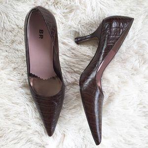 BP Alligator Leather Pointed Toe Kitten Heels